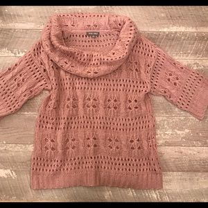 Roz & Ali Loose Knit Cowl Neck Sweater Pink Size M